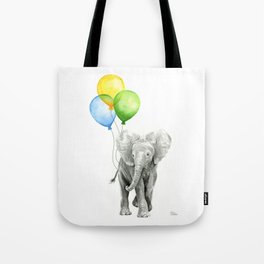 Elephant Watercolor Baby Animal with Balloons Blue Yellow Green Tote Bag