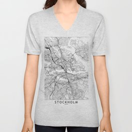 Stockholm White Map Unisex V-Neck