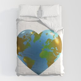 Globe in the shape of heart Comforters