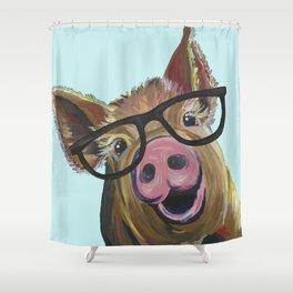 Cute Pig, Pig Art, Farm Animal Shower Curtain