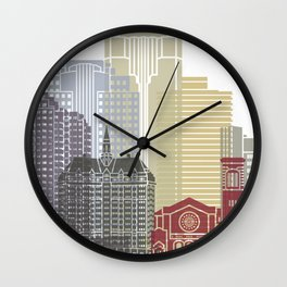 Long Beach skyline poster Wall Clock
