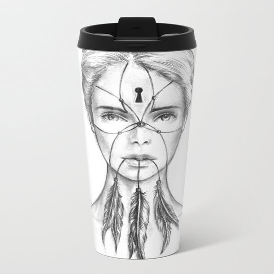Dreamkeeper (B/W) Metal Travel Mug