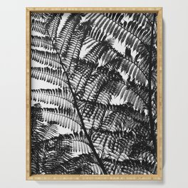 Black and White Fern Silhouette Pattern Serving Tray