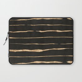 Black and rose-gold abstract stripes Laptop Sleeve