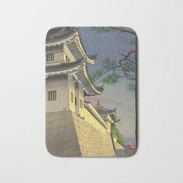 Asano Takeji Japanese Woodblock Print Vintage Mid Century Art Medieval Castle Rainbow Bath Mat