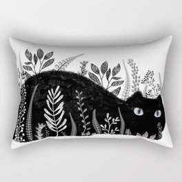 Garden Cat Black And White Rectangular Pillow