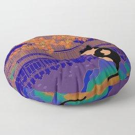 Blue Forbidden City Floor Pillow