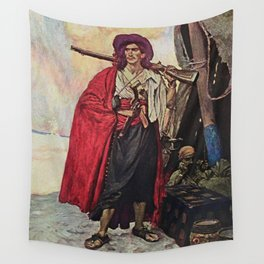 """""""Handsome Buccaneer"""" by Howard Pyle Wall Tapestry"""