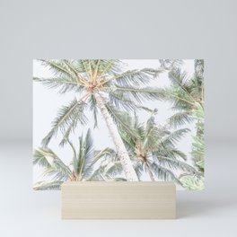 Palm trees with white sky Mini Art Print