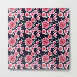 Roses Garden on Black_Minimal Wildflowers_Hand Painted watercolour  Metal Print