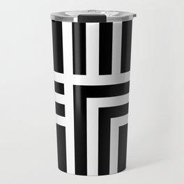 Geometric Swiss Cross (white with black background) Travel Mug