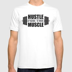 Hustle For The Muscle White Mens Fitted Tee MEDIUM