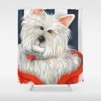 westie Shower Curtains featuring Dog Westie Terrier Original painting Deb Harvey Art Rose by Deb Harvey