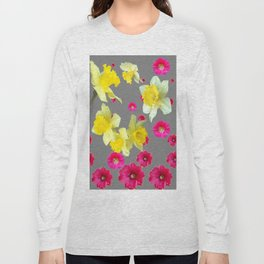 FUCHSIA FLOWERS & YELLOW DAFFODILS DESIGN Long Sleeve T-shirt