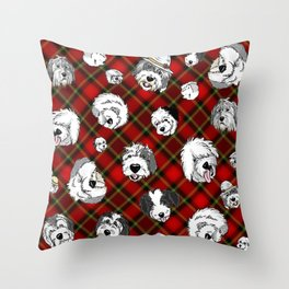 Plaid Sheepies Red Throw Pillow
