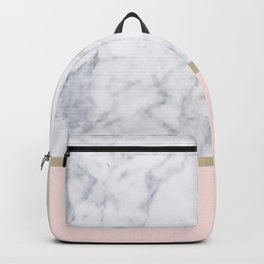 Marble Gold Blush Pink Pattern Backpack