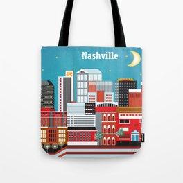 Nashville, Tennessee - Skyline Illustration by Loose Petals Tote Bag