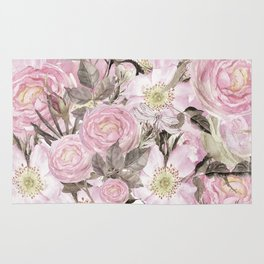 Floral Vintage painterly background in pink with Roses Flowers and insect Rug