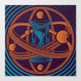 Time Infinity Planet System With Cosmos Sandglass Canvas Print