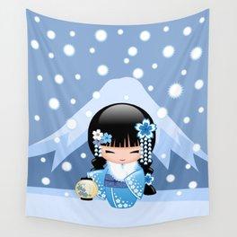 Japanese Winter Kokeshi Doll at Blue Mountain Wall Tapestry