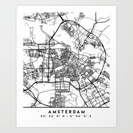 AMSTERDAM NETHERLANDS BLACK CITY STREET MAP ART Art Print