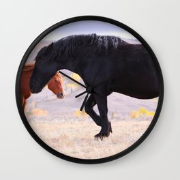 Two Horses in the High Plains Wall Clock