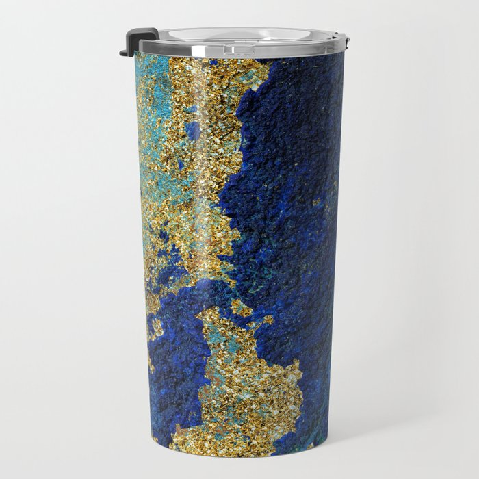 Indigo Teal and Gold Ocean Travel Mug
