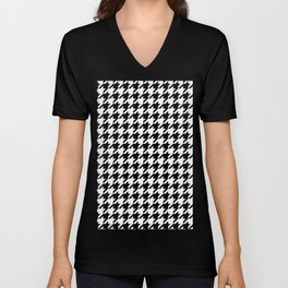 Black and White Houndstooth Pattern Unisex V-Neck