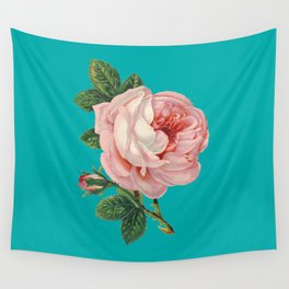 Pink Flower on Teal Wall Tapestry