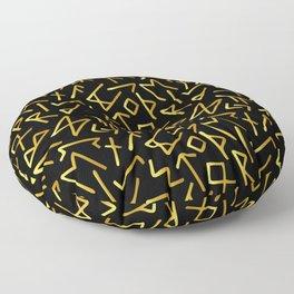 Scrambled Golden Runes Floor Pillow