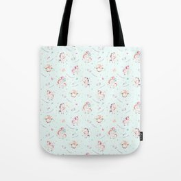 Magical pink teal green watercolor typography unicorn Tote Bag