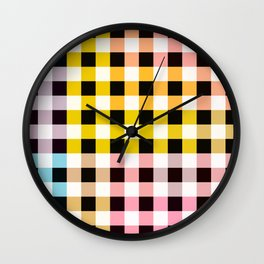 Colorful Checker 05 Wall Clock
