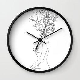 Minimal Line Bloom Wall Clock