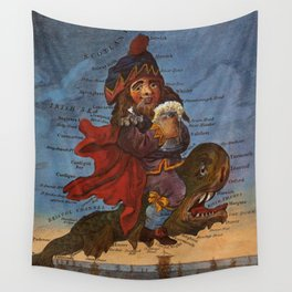 Vintage Illustrative Map of England (1795) Wall Tapestry