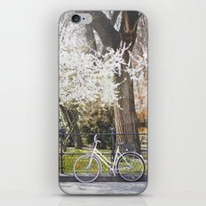 The bike and the spring. iPhone Skin