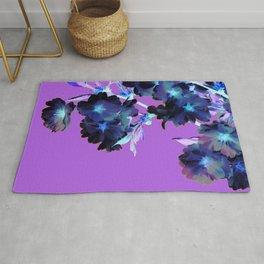 Deep Purple Moon Flowers Rug