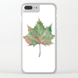 autumn leaf watercolor Clear iPhone Case