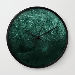 Green deep forest faux glitter ombre on green watercolor Wall Clock