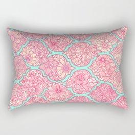 Moroccan Floral Lattice Arrangement in Pinks Rectangular Pillow