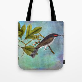 Eastern Kingbird and Sassafrass, Antique Natural History Art Collage Tote Bag