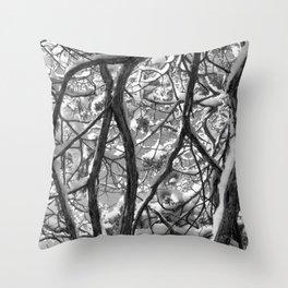 Snowy Cedar - Black & White Throw Pillow
