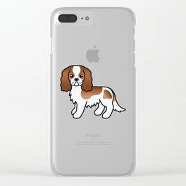 Cute Blenheim Cavalier King Charles Spaniel Dog Cartoon Illustration Clear iPhone Case