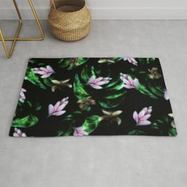 Midnight Tropical Floral Pink Flower Rug
