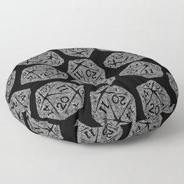 d20 - white on black - icosahedron doodle pattern Floor Pillow