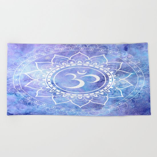 Om Mandala Lavender Periwinkle Blue Galaxy Space Beach Towel