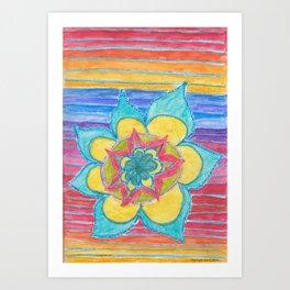 Joy - flower mandala with rainbow Art Print