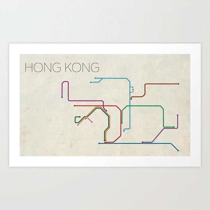 Subway Map Of Hong Kong.Minimal Hong Kong Subway Map Art Print By Chrisnapolitano
