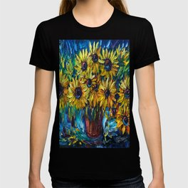 Sunflowers In A Vase Palette Knife Painting T-shirt