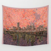 houston Wall Tapestries featuring houston city skyline by Bekim ART