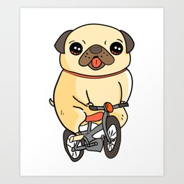 Funny Pug Puppy Riding a Bicycle Dog Art Print